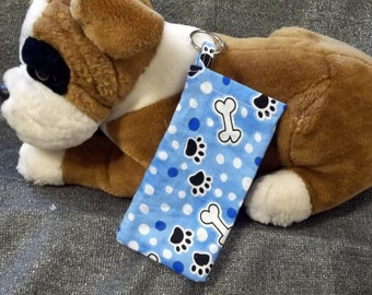 Pet Mess Plastic Bag Holder, Blue Paws N Bones Print, Small