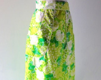 Lilly Pulitzer Green Floral Skirt 1960s 1970s Palm Beach size 6 8 - Lime Green Floral The Lilly - Key West Hand Prints Susie Zuzek Era