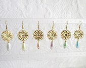 Round Gold Filigree and Pearl Teardrop Pierced or Clip On Earrings