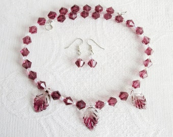 Purple Glass Leaves and Crystal Necklace and Earrings