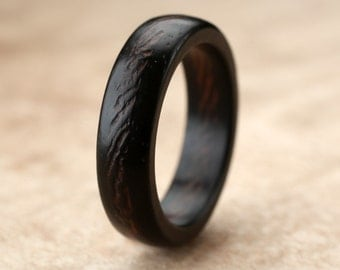 Ebony Wenge Wood Ring- 6mm