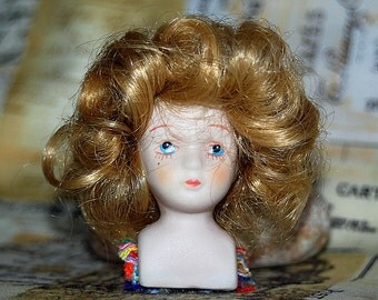 ceramic China porcelain doll's bust with arms and legs, head, parts altered art, doll making, UA