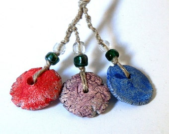 set of 3 red, blue and purple beads, handmade ceramic beads, dangle, coolvintage, jewelry, looks great, unique, for earrings and necklaces