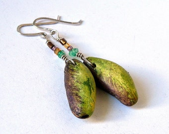 ceramic earrings, handmade ceramic beads, Jewelry beads, dangle, pods beads,cool vintage, jewelry art, looks great, unique,
