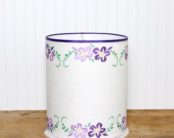 Embroidered Drum Lamp Shade Lampshade Vintage Linen Purple