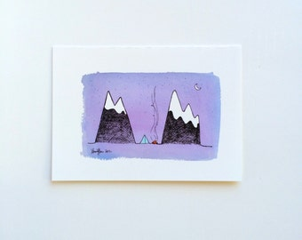 Greeting Card - Camping in the Mountains Blank Inside Card -