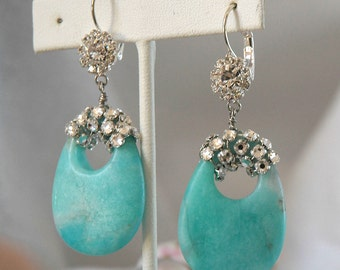 Amazonite Crystal Earrings, Wire Wrapped Rose Montees, Gorgeous Blue Stone, Silver