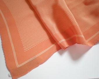 Long Silk Scarf Peach Polka Dots Albert Nipon Vintage