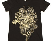 Ladies Steampunk Bicycle Tee - Custom Colors Available | Size S M L Xl