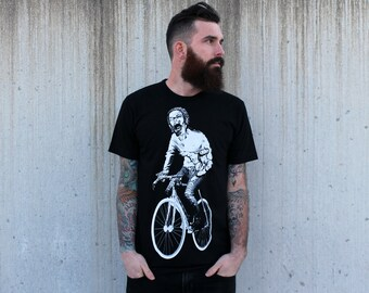 Zombie on a Bike T Shirt -Black Shirt - Size xs, s, m, l, xl, and xxl