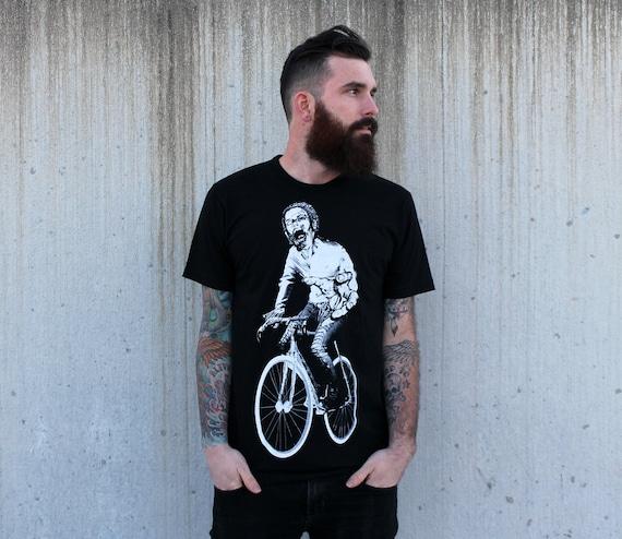 Zombie on a Bike T Shirt - American Apparel Black Shirt - Size xs, s, m, l, xl, and xxl