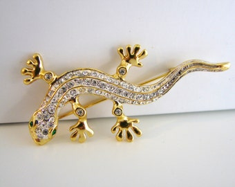Vintage gold lizard cocktail brooch with green and clear crystals (G6)