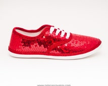 Sequin | CVO Red Canvas Sneaker Sparkly Tennis Shoes