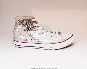 Sequin   Youth   Silver Converse Canvas Hi Tops Sneakers Tennis Shoes