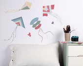 On Sale - Fly a Kite Fabric Wall Decal (Blues) (reusable) NO PVC