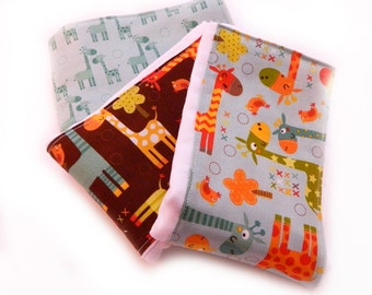 Boy Burp Cloths - Giraffes Blue Brown- Set of 3