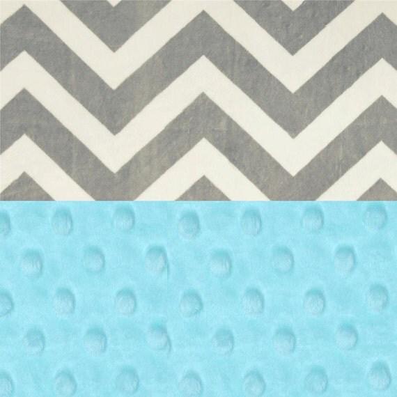 Chevron Minky Baby Blanket, Personalized Aqua Blue Gray Stroller Blanket // Baby Shower Gift // Name Baby Blanket // Gray Chevron Blanket