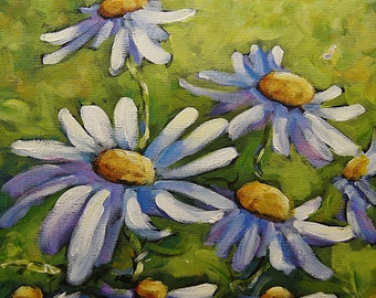 Smiling Daisies - Small Original Acrylic Painting - Floral Scene- Created by Prankearts