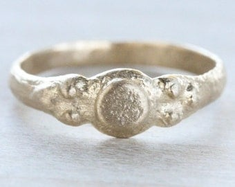 READY TO SHIP Women's Dot Ancient Texture Engagement Ring - Alternative Engagement Ring Eco-Friendly Minimal Bronze Age Primitive Simple