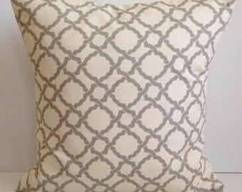 Gray Pillow Decorative Throw Pillow Cover Trellis Pillow Accent Pillow Cushion Grey Toss Pillow