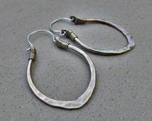 Golden Lotus Petal Hoop Earrings, Medium Size, Mixed Metal, Sterling Silver Ear Wire, Hip, Ethnic, Yoga Inspired, Metalsmith Design