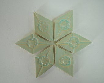 6 Pale Green Diamond Shaped Mosaic Tiles