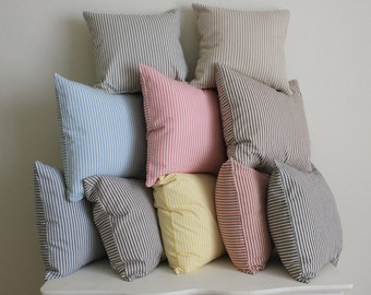 Ticking Pillow Cover - Select Your Size and Color - Decorative Pillow
