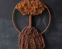 70s Macrame Wall Hanging Tree Textile Bohemian Decor Jute and Straw Flowers From Nowvintage on Etsy