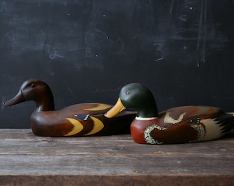 Vintage Carved Wood Duck Pair Beautifully Aged Patina 1960s American Folk Art Vintage From Nowvintage on Etsy