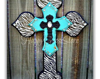 Wall CROSS - Wood Cross - Small - Zebra and Antiqued Turquoise