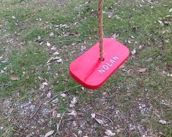 Single rope tree swing personalized bright red