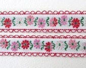 Vintage Trim Woven Jacquard Ribbon Red Pink Flowers Green Leaves Scalloped Japan rib0158 (1 yard)