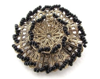 Vintage Japanese Flower Brooch Filigree Black Seed Beads Metal Pin Antiqued Brass Finding Japan vfd0256 (1)