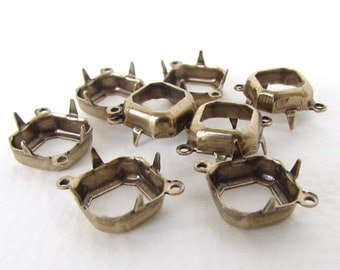 Prong Setting Antiqued Brass Square Octagon Rhinestone Open Back 2 Ring Vintage Style 10mm set0341 (8)