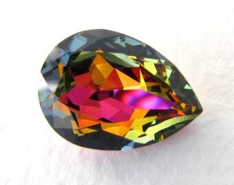 Vintage Swarovski Crystal Rhinestone Pear Light Rose Volcano Faceted Jewel 18x13mm swa0607 (1)