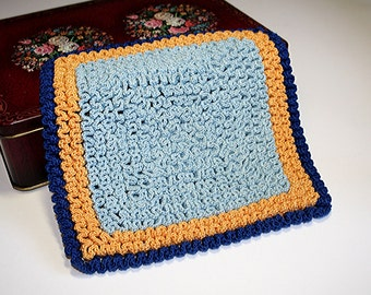"Rippled Potholder, Crocheted Hotpad or Trivet, Ripple Labyrinth Crochet, Blue and Gold, Kitchen Companion, 7-1/4"" Square, Retro Kitchen"