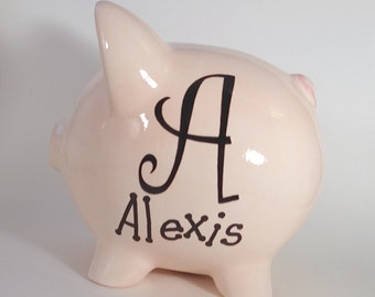 Monogram Piggy Bank - Personalized Piggy Bank - Piggy Bank with Letter Initial - Teen Gift Ceramic Piggy Bank - with hole or NO hole