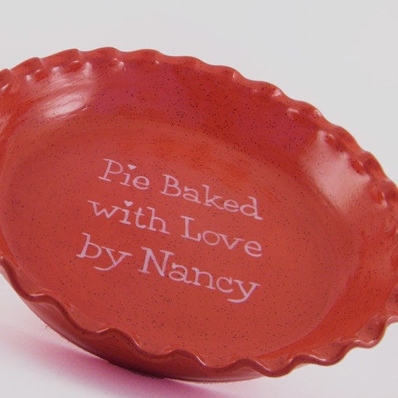 Red Speckled Pie Dish - Personalized Red Pie Plate - Stoneware Glaze Pie Plate - Personalized Ceramic Pie Dish - Personalized Baking Dish