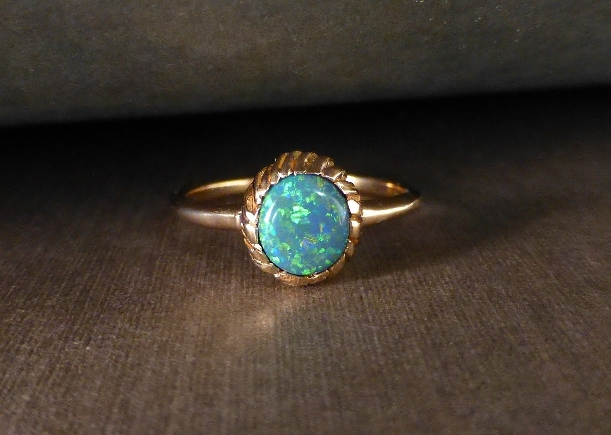 Opal ring. Black opal engagement ring. 14k rose gold. Ready Black Opal Rings