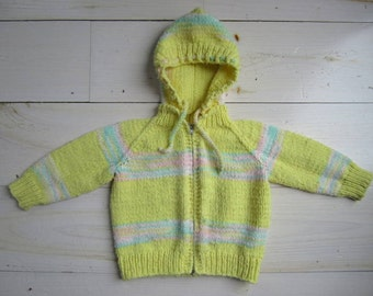 Vintage Girls' Hooded Sweater . Size 18 to 24 Months to 2T