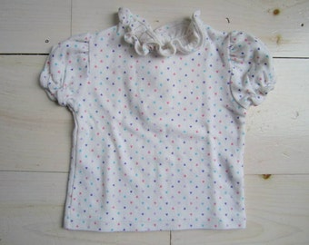 Vintage Short Sleeve Baby Girls' Shirt with Hearts . Estimated Size 12 months