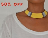 Yellow and Gray Tribal Thread Wrapped Bib Necklace - no. 701B
