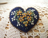 Heart Shaped Pin  with Hand Embroidered Flowers and Leaves