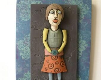 Wall Art, Sculpture, Figure, Lady, Woman, Tile, Art Tile, Wall Tile, Ceramic Sculpture, Plaque