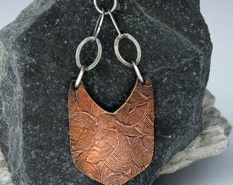 Copper and Sterling Silver Earrings, Mixed Metal, Embossed Copper