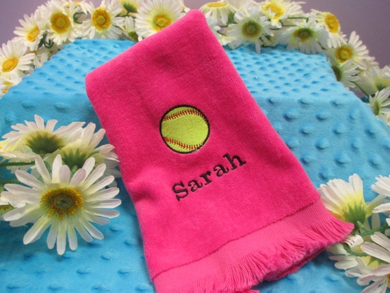 Fingertip Towel Personalized Softball
