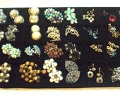 32 Pair LOT of Vintage Earrings, Cluster, Rhinestones, Danglng, Some Signed