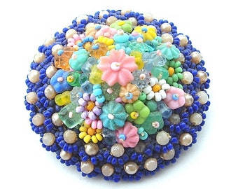 Vintage Beaded Brooch Hand Made Jewelry Colorful Flower Seed Bead Floral Pin Antique Jewelry