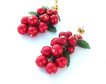 Go Go Grape Vintage Post Cluster Dangle Earrings Glass Fruit Berry Red Jewelry