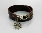 Leather Bracelet Leather Charm Bracelet Leather Cuff Brown Color with Metal Helm Charm